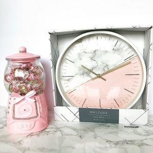 White Marble Half Blush Pink Wall Clock